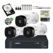 Kit Cftv 3 Câmeras Intelbras Vhl 1120B 20m Dvr 4 Canais +HD