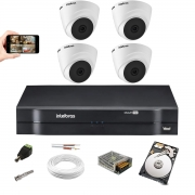 Kit Cftv 4 Câm Intelbras Vhd 1010 Dome 720p Dvr 1104 +1TB