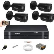 Kit Cftv 4 Câm Vhd 1220B Preta 1080p Dvr 1104 Intelbras S/HD
