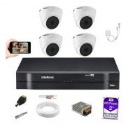Kit Cftv 4 Câmeras 1220D Intelbras Dvr 1108 HD 2TB+ Mic 3080