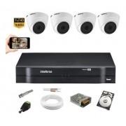 Kit Cftv 4 Câmeras Intelbras VHD 1220D G5 Dvr 1108 + 500gb