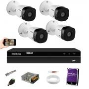 Kit Cftv 4 Vhl 1220B Full HD Intelbras Dvr Mhdx 1208 +1TB HD
