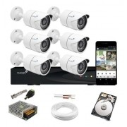 Kit Cftv 6 Cam 1120 Infra 20m Dvr 8 Canais 720p + HD App Cel