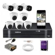 Kit Cftv 8 Câmeras 1220 Dome e Bullet Intelbras Dvr 1108 1TB