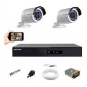Kit CFTV Hikvision 2 Câm AHD Bullet Dvr DS7204 4 Canais S/HD