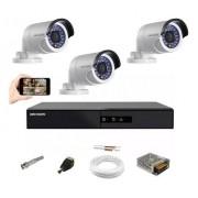 Kit CFTV Hikvision 3 Câm AHD Bullet Dvr DS7204 4 Canais S/HD