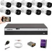 Kit cftv Intelbras 10 Cam 1220B full HD Dvr 4 Mhdx 3116 +1TB