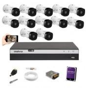 Kit cftv Intelbras 12 Cam 1220B full HD Dvr Mhdx 3116 +1TB