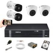 Kit CFTV Intelbras 2 Câm 1220B 2 Câm 1220D Dvr 1108 C/1TB