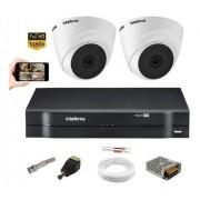 Kit Cftv intelbras 2 Cam 1220D + Dvr  Mhdx 1104  S/ HD