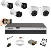 Kit CFTV Intelbras 3 Câm 1220B + 2 Câm 1220D Dvr 3108 HD 1TB