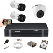 Kit Cftv Intelbras 3 Câm Vhd 1010 Dvr 4 Mhdx 1104 C/ HD 500