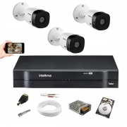 Kit Cftv Intelbras 3 Cam VHL 1120b Dvr 4 Mhdx 1104 Hd 1Tera