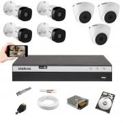 Kit CFTV Intelbras 4 Câm 1220B + 3 Câm 1220D Dvr 3108 HD 1TB