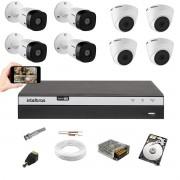 Kit CFTV Intelbras 4 Câm 1220B + 4 Câm 1220D Dvr 3108 HD 1TB