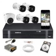 Kit Cftv Intelbras 4 Cam 1220b e 1 Dome 1080p Dvr 1108 C/ HD