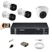 Kit Cftv Intelbras 4 Câm VHD 1010 Dome +Bullet Dvr Mhdx 1104
