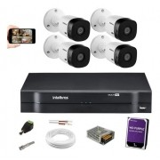 Kit CFTV Intelbras 4 Cam VHD 1120b Dvr Mhdx 1104 C/ Hd 1TB