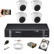 Kit Cftv Intelbras 4 Cam  VHL 1220 Dome Dvr Mhdx 1104 HD 1TB