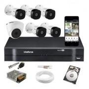 Kit Cftv Intelbras 5 Cam 1220b e 1 Dome 1080p Dvr 1108 C/ HD