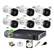 Kit Cftv Intelbras 6 Cam 1220b 1080p Dvr 8ch Mhdx 1108 C/ HD