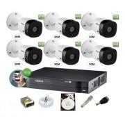 Kit Cftv Intelbras 6 Cam 1220b 1080p Dvr 8ch Mhdx 1108 C/ HD