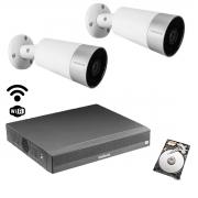 Kit cftv Intelbras wi-fi 2 cam Mibo Im5 NVD 1304 6mp + 500gb