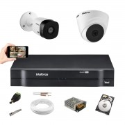 Kit Intelbras 1 Câm 1120D+1 Câm 1120B Dvr 4 Canais 1104 +HD