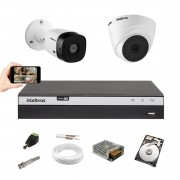 Kit Intelbras 1 Câm 1220B +1 Câm 1220D Dvr 4 Canais 3104 +HD