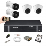 Kit Intelbras 2 Câm VHD 1010 Dome + 2 Bullet Dvr 1104 C/ 1TB