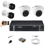 Kit Intelbras 2 Câm VHD 1010 Dome + 2 Bullet Dvr Mhdx 1104