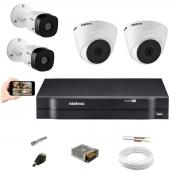 Kit Intelbras 2 Câm VHD 1010 Dome + 2 Bullet Dvr Mhdx 1104