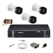 Kit Intelbras 3 Cam 1220b FullHd 1080p Dvr 4 Mhdx 1108 S/ HD