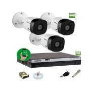 Kit Intelbras 3 Camera Seg 1220b Fullhd Dvr Mhdx 3104