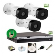 Kit Intelbras 3 Camera Seg 1220b Fullhd Dvr Mhdx 3104 C/ HD