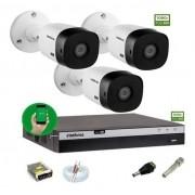 Kit Intelbras 3 Camera Seg 1220b Fullhd Dvr Mhdx 3104 sem HD