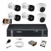 Kit  Intelbras 4 Cam 1220b+ 2 cam 1220D Dvr 8ch  1108 C/ HD