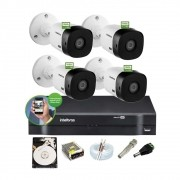 Kit Intelbras 4 Cam 1220b FullHd 1080p Dvr 4 Mhdx 1104 C/ HD