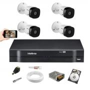 Kit Intelbras 4 Cam VHL 1120B 720p Dvr 4 Mhdx 1104 Hd 1Tera