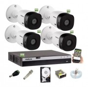 Kit Intelbras 4 Camera Seg 1220b Fullhd Dvr Mhdx 3104 C/ Hd