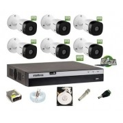 Kit Intelbras 6 Cam Full HD 1220b 1080p Dvr Mhdx 3108 C/ HD