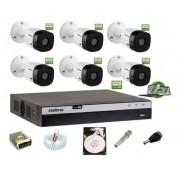 Kit Intelbras 6 Cam Full HD 1220b 1080p Dvr Mhdx 3108 C/ HD