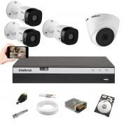 Kit Intelbras VHL 3 Câm 1220B +1 Câm 1220D Dvr MHDX 3104 +HD