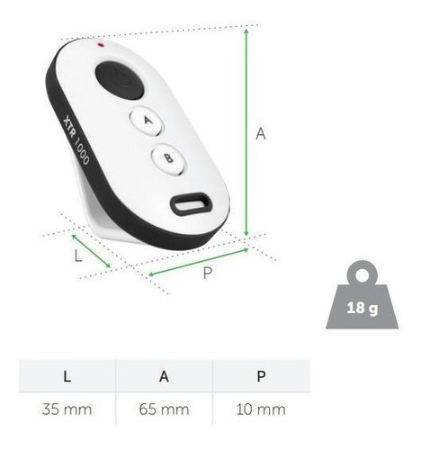 2x Controle Remoto Xtr 1000 Preto/branco (sca 1000) Intelbras