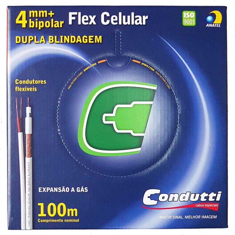 Cabo Coaxial Flexível RF4mm + Bipolar 2x26 AWG, 80% Malha, com Caixa c/ 100 Metros