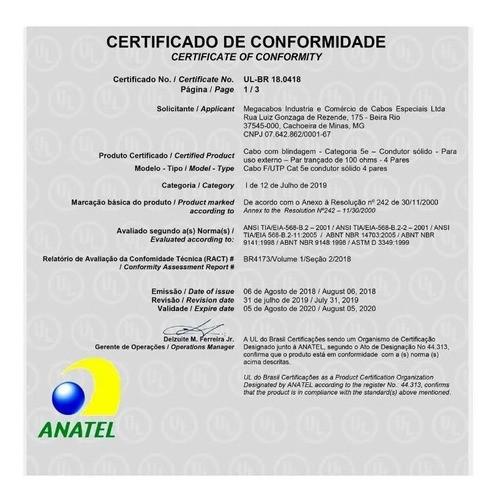 Cabo Rede Blindado Cat5e Externo 200 Mts Megatron Anatel