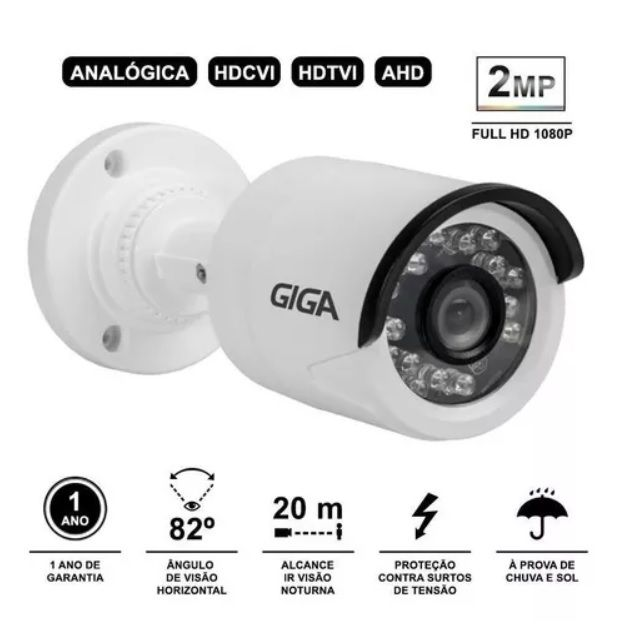 Câmera Bullet Open Hd Sony Exmor Giga Security Gs0027 Ir 20m