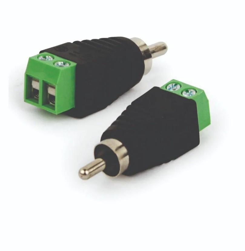 Conector Adaptador Plug Rca Macho Com Borne Parafuso Cftv