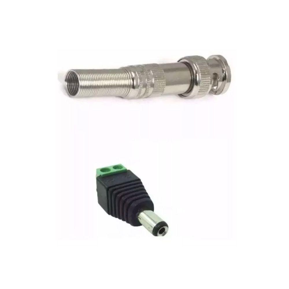 3 Conectores P4 Macho e 3 Conectores BNC Mola Cftv Câmeras