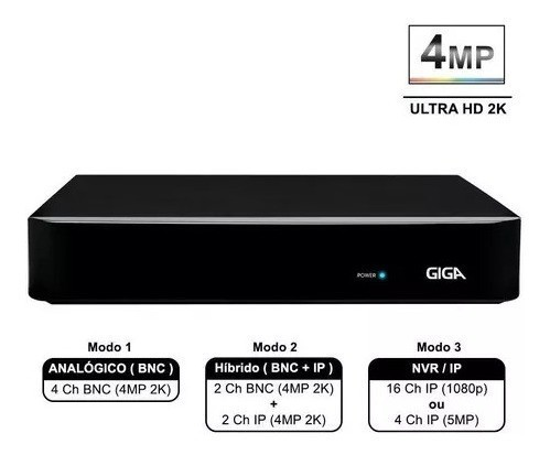 Dvr Giga Open Hd Full Hd 1080p 4 Canais P2p+ App - GS04OPEN4Mi2
